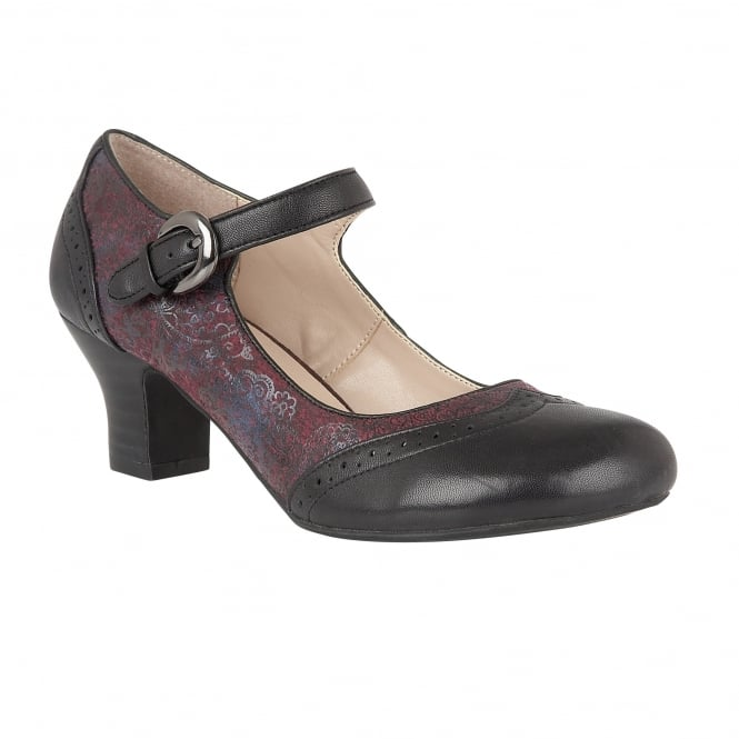 Lotus Hallmark Laleh Black Leather & Bordeaux Print Mary-Jane Shoes