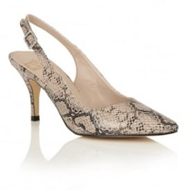 Magdalena Natural Snake-Print Sling-Back Court Shoes