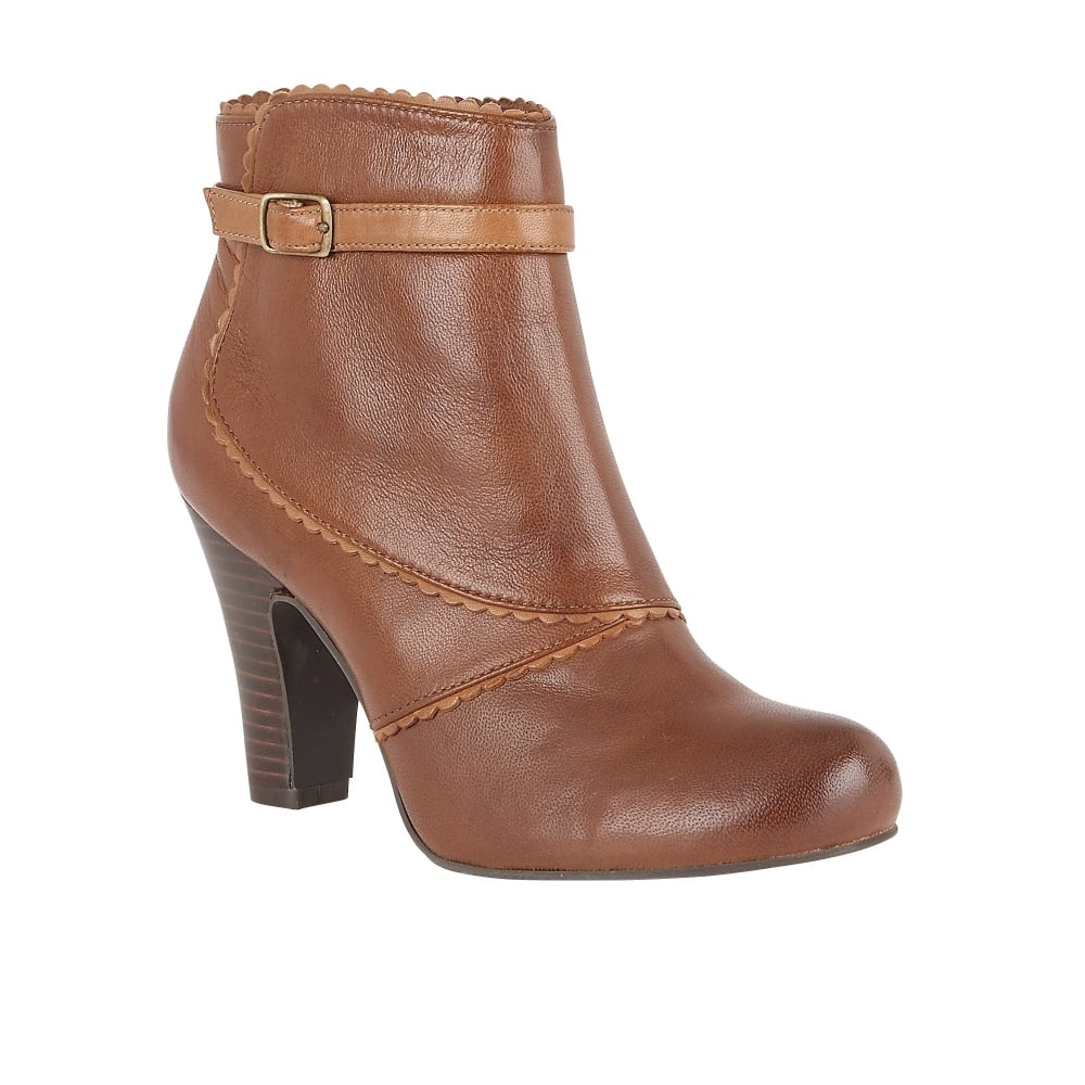 lotus hallmark morie brown leather heeled ankle boots