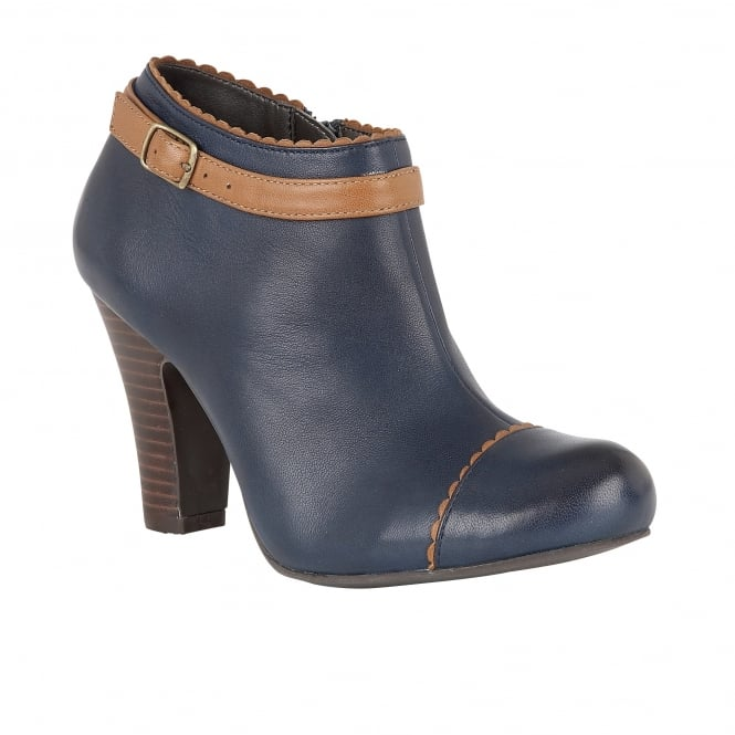Lotus Hallmark Mulya Navy Leather Heeled Shoe-Boots