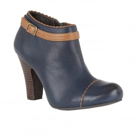 Mulya Navy Leather Heeled Shoe-Boots
