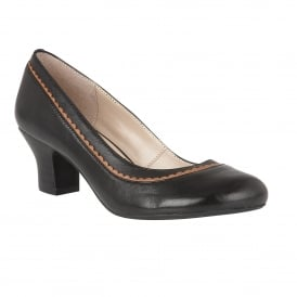 Orinda Black Leather Block-Heel Court Shoes