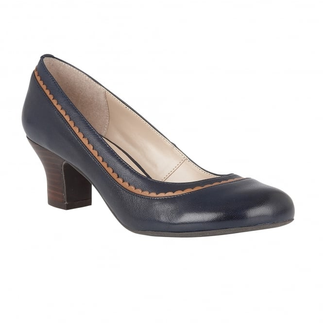 Lotus Hallmark Orinda Navy Leather Block-Heel Court Shoes