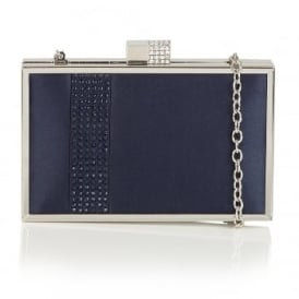 Rhiannon Navy Satin Clutch Bag