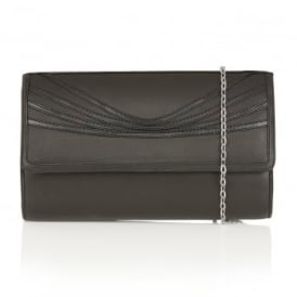 Zuzanna Black Shiny Leather Clutch Bag