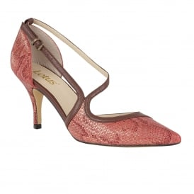Hanako Red Snake Print Court Shoes