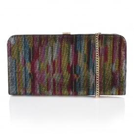 Aimatia Multi Rainbow Leather Clutch Bag