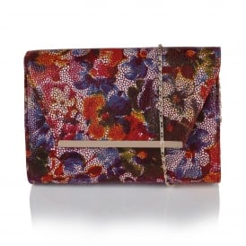 Akina Multi Floral Leather Clutch Bag