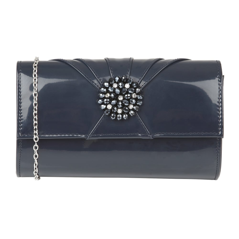 Lotus Handbags Aria Navy Shiny Cluster Clutch Bag Bags