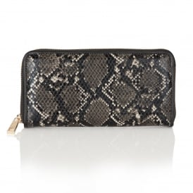 Ayanna Black & Grey Snake Print Clutch Bag