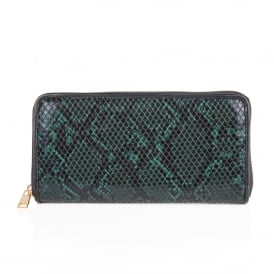 Ayanna Green Snake Print Clutch Bag