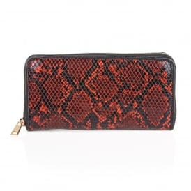 Ayanna Red Snake Print Clutch Bag