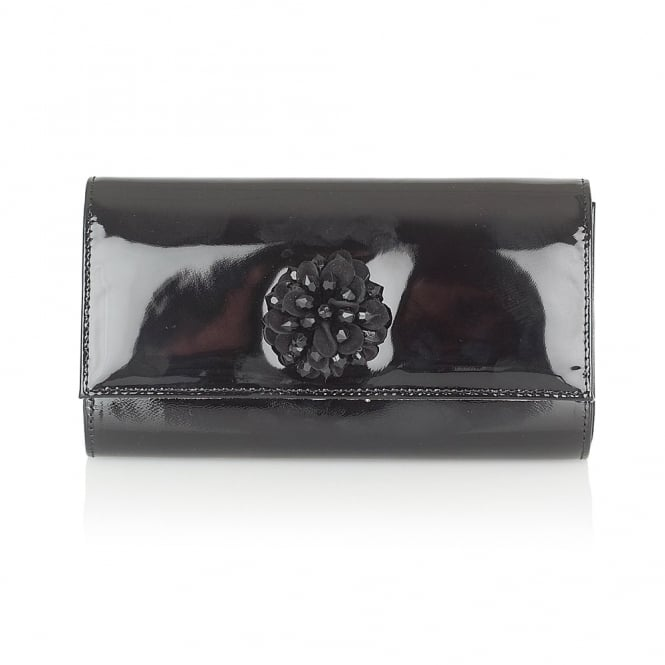 Lotus Handbags Blanka Black Patent Cluster Clutch Bag