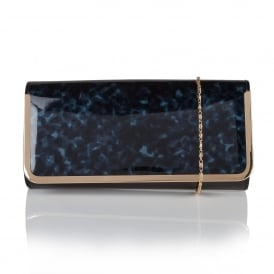 Camellia Navy Tortoiseshell & Black Shiny Clutch Bag