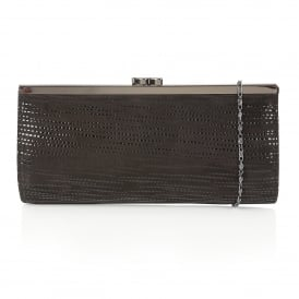 Clove Black Print Leather Clutch Bag