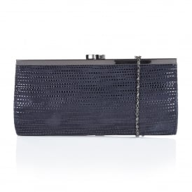 Clove Navy Print Leather Clutch Bag