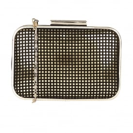 Dixie Black Microfibre & Gold Clutch Bag