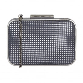 Dixie Navy Microfibre & Pewter Clutch Bag