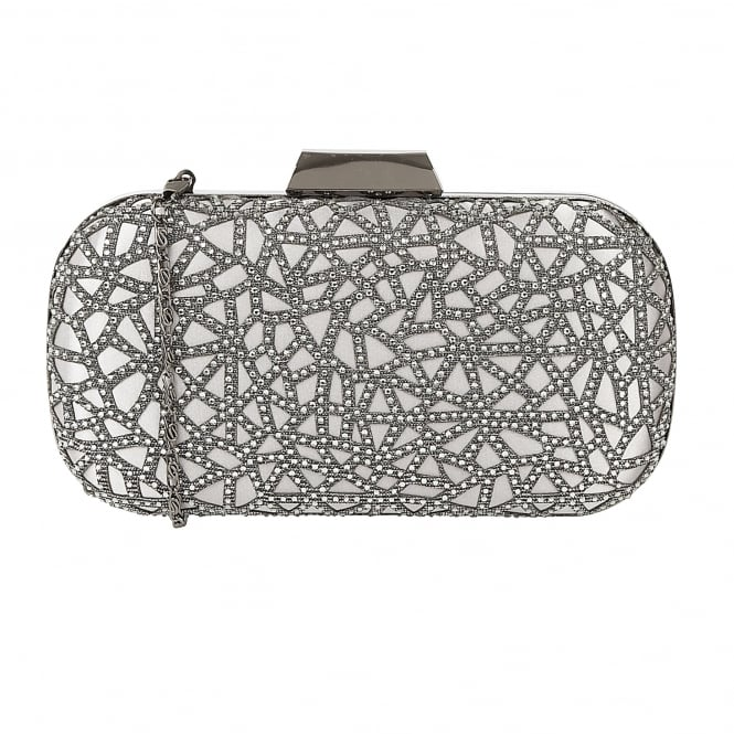 Lotus Handbags Flicker Pewter Textile & Diamante Clutch Bag