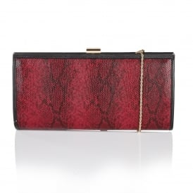 Flossie Red Snake Print Clutch Bag