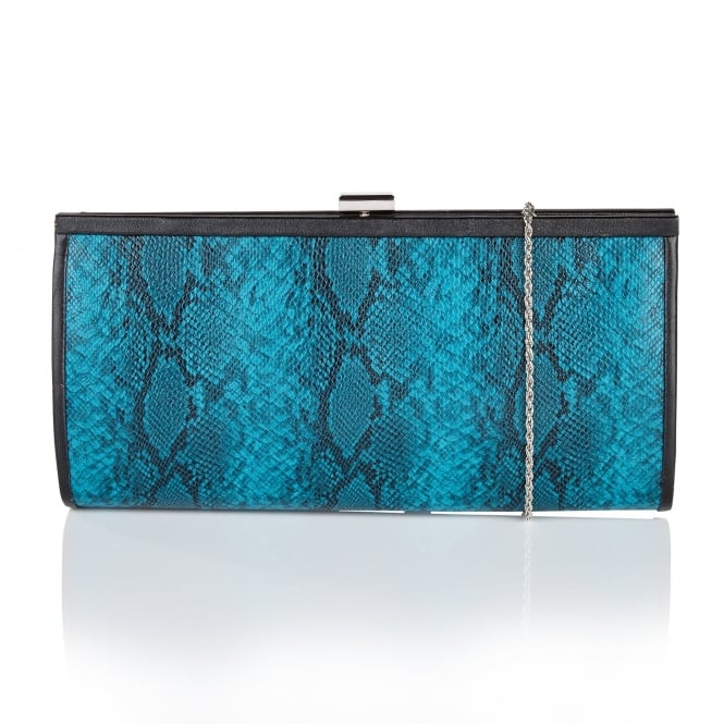 Lotus Handbags Flossie Turquoise Snake Print Clutch Bag