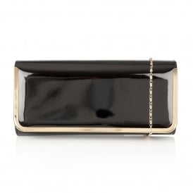Flower Black Floral Shiny Clutch Bag