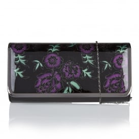 Flower Purple & Black Floral Shiny Clutch Bag