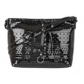 Houston Black Shiny Shoulder Bag