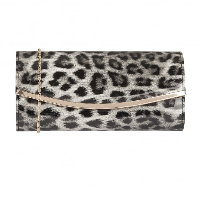 Lotus Handbags Jamuna Grey Leopard Shiny Clutch Bag