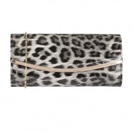 Jamuna Grey Leopard Shiny Clutch Bag