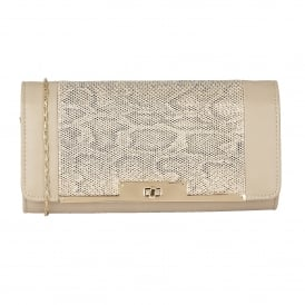 Kamalei Beige Leather & Reptile Print Clutch Bag