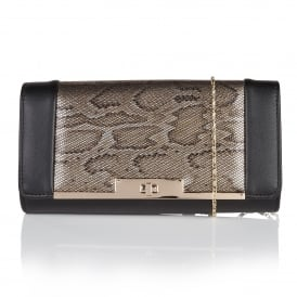 Kamalei Black & Bronze Snake Print Clutch Bag