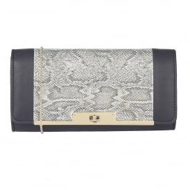 Kamalei Blue Leather & Reptile Print Clutch Bag