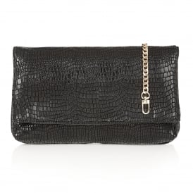 Leaf Black Croc Print Clutch Bag