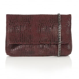Leaf Burgundy Croc Print Clutch Bag