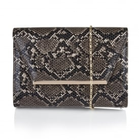 Lodis Black & Grey Snake Print Clutch Bag