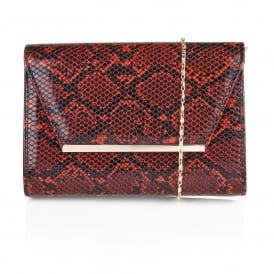Lodis Red Snake Print Clutch Bag