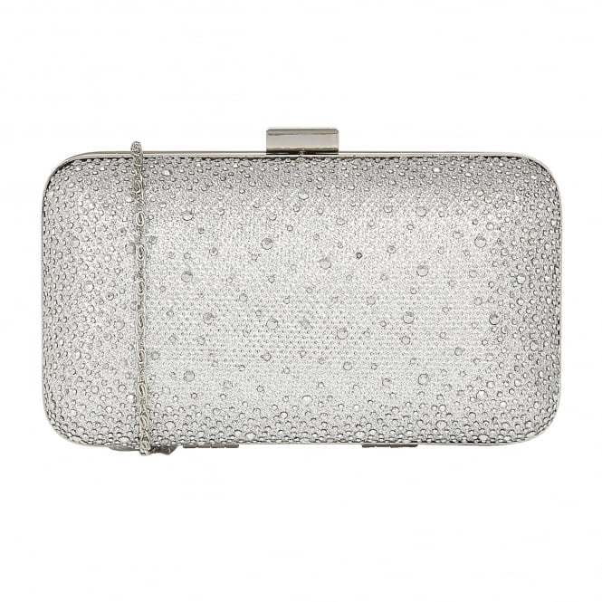 Lotus Handbags Lule Silver Microfibre & Diamante Clutch Bag