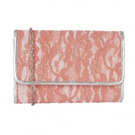 Orval Coral Lace Textile Clutch Bag
