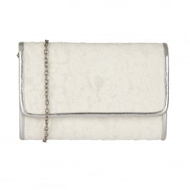 Orval Off White Lace Textile Clutch Bag