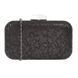 Puffin Black Floral Print Clutch Bag