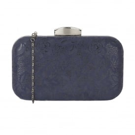 Puffin Navy Floral Print Clutch Bag