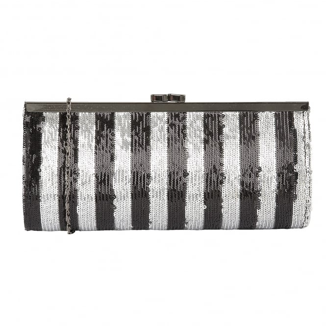Lotus Handbags Spinale Black & Silver Sequins Clutch Bag