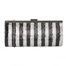 Spinale Black & Silver Sequins Clutch Bag