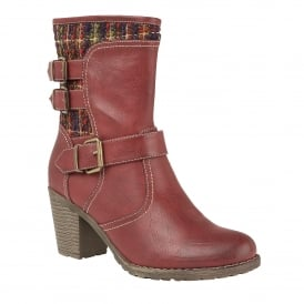 Hedera Red Matt & Multi Ankle Boots