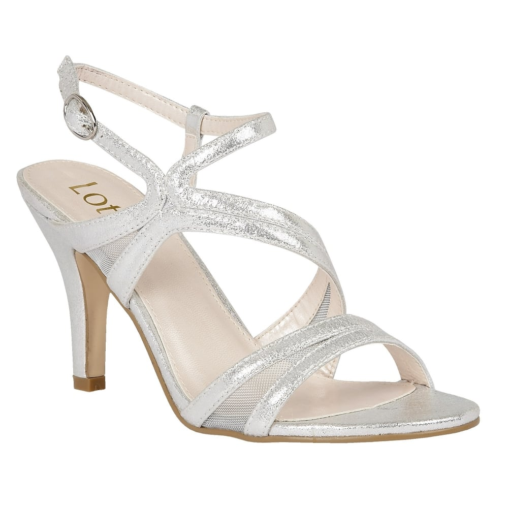Lotus Hendren Silver Shimmer Strappy Sandals Sandals