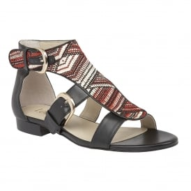 Hixson Red-Multi Rafia Open-Toe Sandals