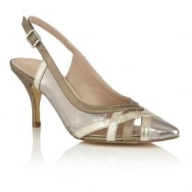 Horrigan Pewter & Light Gold Metallic Sling-Back Court Shoes