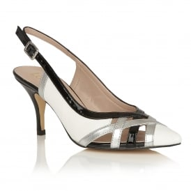 Horrigan White & Black Shiny Sling-Back Court Shoes