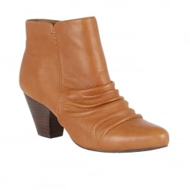 Ilara Tan Leather Ankle Boots